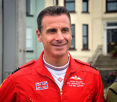 Red 10 - The Red Arrows (Owen J Fitzpatrick) Tags: ojf people photography nikon fitzpatrick owen pavement chasing d3100 ireland editorial use only ojfitzpatrick eire dublin republic city tamron candid joe candidphotography candidphoto unposed natural j along photoshoot street 2018 dslr digital streetphoto streetphotography bray town air show red pilot officer uniform jumpsuit flag wings adam collins insignia face man male portrait smile happy arrows aerobatic team arrow wicklow co county
