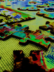 metal jigsaw (SpaceCadetTaylor) Tags: colour color rainbow puzzle jigsaw macro affinity edit creative