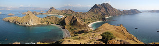 Panoramic view from the top of Pulau Padar, Komodo NP, Indonesia