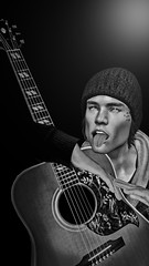 Just holding this thing for the show. I can´t play it sorry... (Jarno Parisi ツ) Tags: bw black white music avatar secondlife sl guitar portrait male man me composition 3d