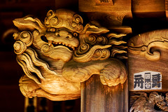 Gosho-jinja Shrine in Kamakura : 鎌倉・五所神社・唐獅子の柱飾り (Dakiny) Tags: 2018 summer july japan kanagawa kamakura zaimokuza shrine goshojinja architecture building art statue lion nikon d750 sigma apo 70200mm f28 ex hsm apo70200mmf28dexhsm sigmaapo70200mmf28dexhsm