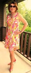 Floral Pattern Dress and Heels (Kim Kross) Tags: cdtv crossdresser crossdress crossdressing tranny transvestite tgirl feminized