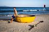 Da Nang 02 (arsamie) Tags: danang vietnam asia beach basket boat sea water sand man vietnamese sunset evening horizon swag footprint yellow bright an son tra