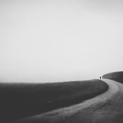 september (rwasinger) Tags: september autumn bw new mist foggy fog person silhouette monochrome mono monochrom minimalismus minimal minimalism noiretblanc wasinger 2augenblick way road field outside scenery nature landscape deutschland bavaria abandoned mystery