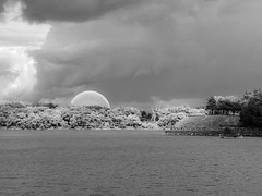 Reminisce (Infrared) (A Great Capture) Tags: infra red infrared montreal montréal dome richard buckminster fuller expo 67 symbol parc jeandrapeau art public alexander calder sculptor abstract manandhisworld overcast cloudy waterscape wet water agua eau stream river outdoor outdoors outside blackandwhite noiretblanc blancoynegro monochrome bnw bw quebec landscape paisaje paysage landschaft agreatcapture agc wwwagreatcapturecom adjm ash2276 ashleylduffus ald mobilejay jamesmitchell canada canadian photographer northamerica august storm