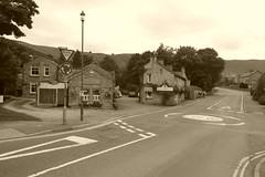 Cafes in Castleton, Derbyshire. (dave_attrill) Tags: crossstreet threeroofs cafe castleton villagecentre peakdistrict nationalpark derbyshire hopevalley august 2018 sepia