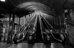Escalator at Nasjonalteatret stasjon (jonarnefoss2013) Tags: blacksndwhite norway nationalteatret norge oslo