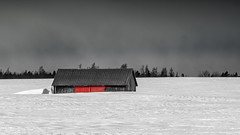 ile d'Orléans, Québec, Canada (Tasmanian58) Tags: shack remise neige snow field champs bw color nb distagon 25mm zeiss contax sony a7ii vintage lens quebec canada orleans island clouds