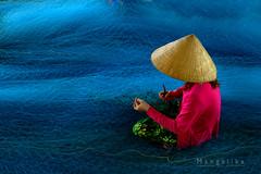 Net Mending Vietnam (My Silent Wings2010) Tags: net mending vietnam people lady bac lieu mekong delta south travel portrait photography fishing village fujifilm