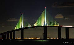 Sunshine Skyway (pandt) Tags: sunshineskyway stpetersburg florida night lights water bridge clouds yello outdoor light reflection waterscape coast bay tampabay canon eos slr 7d nightscape flickr sky lines archtecture bridges architecture