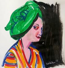Maria Zaikina, Girl in green turban, 29×29 cm, gouache and acryl on paper, 2018 (suzy_yes) Tags: mariazaikina green turban portrait face woman girl oriental
