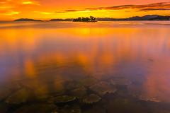 sunset 4407 (junjiaoyama) Tags: japan sunset sky light cloud weather landscape orange contrast color bright lake island water nature summer reflection calmn underwater dusk serene rock