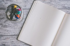 Photo of Blank Note Book Near Clear Jar - Credit to https://www.semtrio.com/ (Semtrio) Tags: blank colored markers pens colorful colors colourful desk flatlay glass jar mason notebook paper table top view