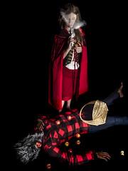 Alternative Fairy tale (MomoFotografi) Tags: littleredridinghood gun wolf shot smoke apple fun red hood wolfman werewolf woman portrait food fruit
