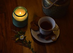 Tea time (sruthyanu) Tags: light home indoors canada ontario flickr d5500 nikkor nikon happy me candle drink food cookies teatime tea