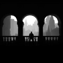 Arches [alt.] (D4l41L4m4) Tags: fromsoftware bandainamco bandainamcoentertainment darksoulsiii darksouls3 darksouls ds games gaming game pc reshade person figure silhouette arch arches buildings monochrome blackandwhite blackwhite bw