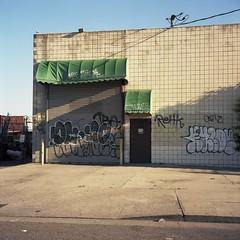 Graph paper facade (ADMurr) Tags: la dtla graph paper facade industrial grafitti green awning rolleiflex 35 e kodak ektar bbb115 2015 6x6 square mf medium