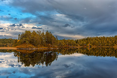 Hessjøen (Trond Sollihaug) Tags: lake pond hessjøen autum clouds mirror reflection island evening canoneos5dmkiv canonef35mmf14liiusm