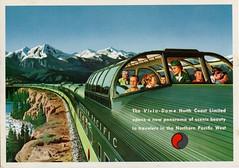 Panorama Of Scenic Beauty,Vista Dome, Northern Pacific Railway (SwellMap) Tags: postcard chrome vintage transportation train plane boat roadside