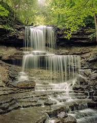 West Milton Cascades 8-18-18 (1 of 2) (rjskwctm78) Tags: 4x5 nature portra water waterfall film