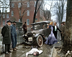 When adversity strikes, always cross to the sunny side of the street. (Fotofricassee) Tags: fred astaire ginger rogers car accident casualty man men city snow
