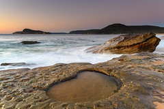 Rocks and Rock Pool Sunrise Seascape (Merrillie) Tags: daybreak sunrise nature dawn morning coast water northpearlbeach sea newsouthwales rocks pearlbeach nsw rocky waterscape ocean earlymorning landscape waves coastal clouds outdoors seascape australia centralcoast sky seaside