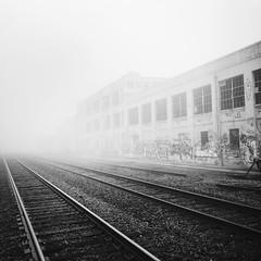 vanishing point (eb78) Tags: bw blackandwhite monochrome greyscale grayscale hipstamatic iphone iphoneography eastbay berkeley ca california fog railroad traintracks urban decay explore