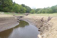 Low water at Derwent village, Ladybower    Late August 2018 (dave_attrill) Tags: bridge lowwater derwent village ladybower reservoir ruins low water brickwork stonework site august 2018 bamford peakdistrict nationalpark derbyshire sky landscape tree mountain river mangrove forest road grass