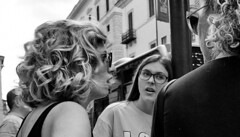 They can talk. (Baz 120) Tags: candid candidstreet candidportrait city candidface candidphotography contrast street streetphoto streetphotography streetcandid strangers sony a7 rome roma europe women monochrome monotone mono noiretblanc bw blackandwhite urban life primelens people pentax20mm28 italy italia grittystreetphotography decisivemoment