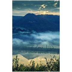 Magic mirror (Robyn Hooz) Tags: fimon lake lago magia magic together water still specchio sun sole sunrise alba foschia haze hue colline hills vicenza prealpi veneto