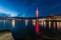 Portsmouth at Night (E_W_Photo) Tags: portsmouth spinnakertower hampshire night sea canon 80d sigma 1020mm gunwharfquays bluehour
