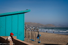 Cayucos Observer (lorinleecary) Tags: california blue beach landscape swings curves water people sand red lines hills cayucos ocean waves