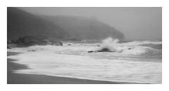 Mizzley Praa Sands (Andrew Hocking Photography) Tags: mizzle drizzle mist coast rinseyhead praasands cornwall uk gb mono waves sea seaside coastal weather fog water seascape landscape soft explored inexplore explore