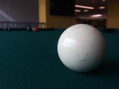 Cue ball smile (Bill Dreit) Tags: whimsical simple closeup white green balls billiards pool game