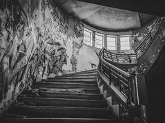 Misery Stairs (panos_adgr) Tags: nikon d7200 bw monochrome staircase stairs windows abandoned building perspective decay forgotten walls light shadows interior urban greece kamena vourla hotel radion travel feelings handheld