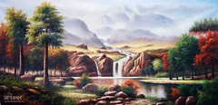 Sierra Peaks, Art Painting / Oil Painting For Sale - Arteet™ (arteetgallery) Tags: arteet oil paintings canvas art artwork fine arts canyon valley landscape ravine waterfall park mountain national sky rock travel tree river natural tourism scenery stone water scenic forest mountains outdoor clouds autumn environment summer rocks fall scenics wilderness sun hill sunny cliff trees outdoors plant range scene landscapes lakes rivers green cyan paint