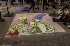 Simpsons in Chalk (Thad Zajdowicz) Tags: zajdowicz pasadena california usa travel canon eos 5d3 5dmarkiii dslr digital availablelight lightroom outside outdoors chalkfestival carshow ef24105mmf4lisusm street urban city art sidewalk cartoon simpsons popularculture color colour
