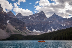 Canoers on Moraine Lake (Samantha Decker) Tags: ab alberta banffnationalpark canada canadianrockies canonef24105mmf4lisusm canoneos6d morainelake parkscanada rockymountains samanthadecker canoe