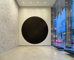 Artwork, Financial District, Toronto, Ontario (duaneschermerhorn) Tags: building structure edifice marble painting circle black white night indoors art artwork window sidewalk city urban toronto ontario