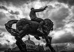Galloping (pepemf) Tags: mexico downtown clouds storm palace blackandwhite monument raider horse halloping gallop