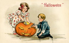 Getting the Pumpkin Ready for Halloween (Alan Mays) Tags: ephemera postcards greetingcards greetings cards paper printed halloween holidays october31 jackolanterns pumpkins orange children boys girls clothes clothing sailorsuits dresses patterns carving knives illustrations yellow blue red 1908 1900s antique old vintage typefaces type typography fonts hbg griggs hbgriggs artists illustrators postcardartists artistsigned