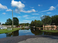 Flood Waters On The Street. (dccradio) Tags: lumberton nc northcarolina robesoncounty outdoor outdoors outside tree trees greenery foliage treebranch treebranches branch branches sky bluesky clouds hurricaneflorence hurricaneflorenceaftermath pavement paved street independencedrive water floodwater flood flooding floodwaters flooded reflection waterreflection samsung galaxy smj727v j7v cellphone cellphonepicture streetlight lamppost lightpole utilitypole grass ground lawn apartment apartments apartmentbuilding brickbuilding brick bricks