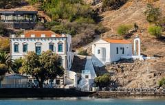 Old Mansion House & Church of Agia Paraskevi ( Romeikos Gialos Waterfront - Myrina Town - Limnos) (Olympus OM-D EM1-II & M.Zuiko 40-150mm f2.8 Pro Zoom) (1 of 1) (markdbaynham) Tags: lemnos limnos greece greek hellas hellenic greekisland greekholiday greektown grecia greka gr oly olympusgreece olympusomd mft olympusem1 olympusmft m43 mirrorless csc evil micro43 microfourthird microfourthirds 40150mm telephoto olympuspro m43rd mzd zd mz mzuiko zuikolic prozoom zoomlens f28 em1 em1mk2 em1ii