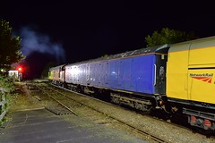 Colas Rail 37521 on a Track Recording Train at Saxmundham. This train reversed here and was due to traverse the Sizewell Branch, but returned north to Lowestoft instead. 02 08 2018 (pnb511) Tags: eastsuffolkline saxmundham suffolk train class37 diesel locomotive loco railway night dark colas testtrain hnrc
