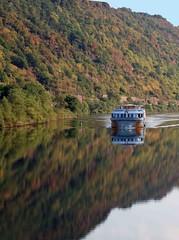 Rhine boat reflections (saxonfenken) Tags: 3043rhine 3043 boat river reflections rhine germany challengeyouwinner cyunanimous tcf gamesweep