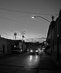 Street in Merida, Yucatan, Mexico. (cbrozek21) Tags: street night merida mexico bw blackandwhite monochrome nightview streetview light 7dwf