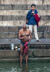 Sacred string for Hindus (David Clay Photography) Tags: yajñopavītam ganges hinduism puja bathing river india varanasi kashi benares
