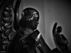 All Saints' Angels (Adam.L.) Tags: wigan wiganlancashire wiganparishchurch parishchurch church anglicanchurch allsaintsparishchurch statues blackwhite dontblink