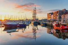 Barbican Sunrise (Rich Walker75) Tags: plymouth plymouthbarbican devon harbour harbor reflections reflection sunrise dawn morning cloud colour color sky boat boats ships ship landscape landscapephotography landscapes canon efs1585mmisusm england eos eos80d