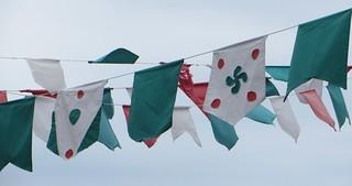 Couleurs de la fête, vieille ville, Bermeo, comarque de Busturialdea, Biscaye, Pays basque, Espagne.